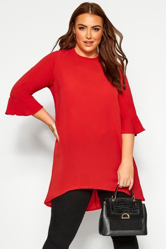 Plus Size Tunics YOURS LONDON Red Flute Sleeve Tunic