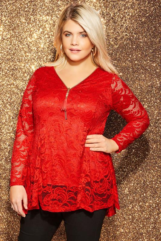 Plus Size Blouses & Shirts YOURS LONDON Red Lace Godet Zip Front Top