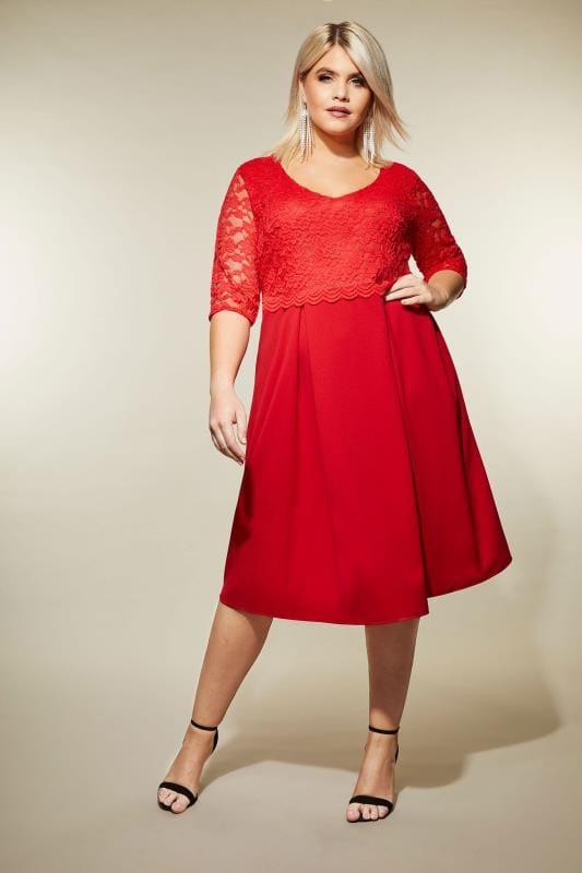 YOURS LONDON Red Midi Dress with Lace Overlay