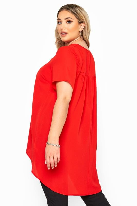 Plus Size Blouses & Shirts YOURS LONDON Red Pleated Extreme Dipped Hem Blouse