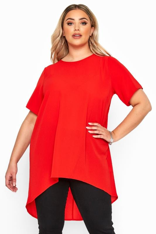 YOURS LONDON Red Pleated Extreme Dipped Hem Blouse