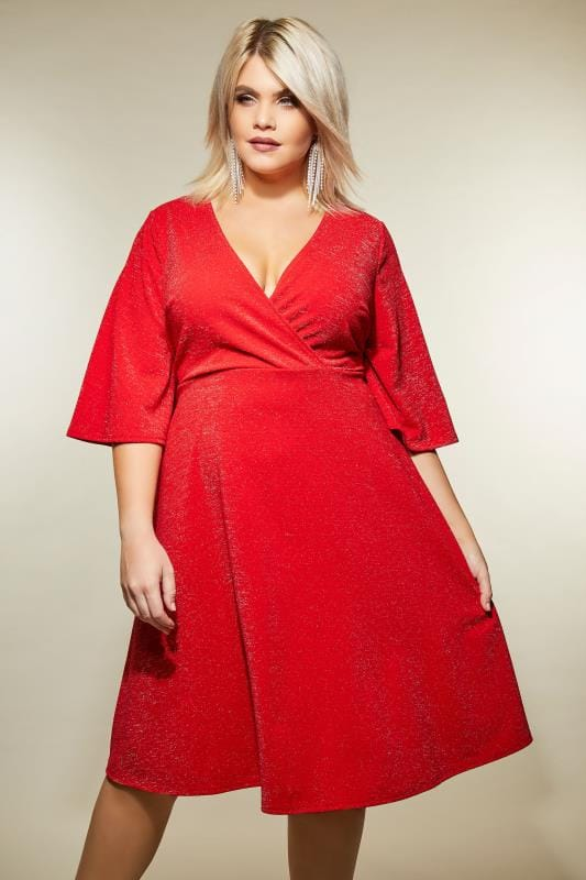 YOURS LONDON Red Sparkle Wrap Dress, Plus size 16 to 32