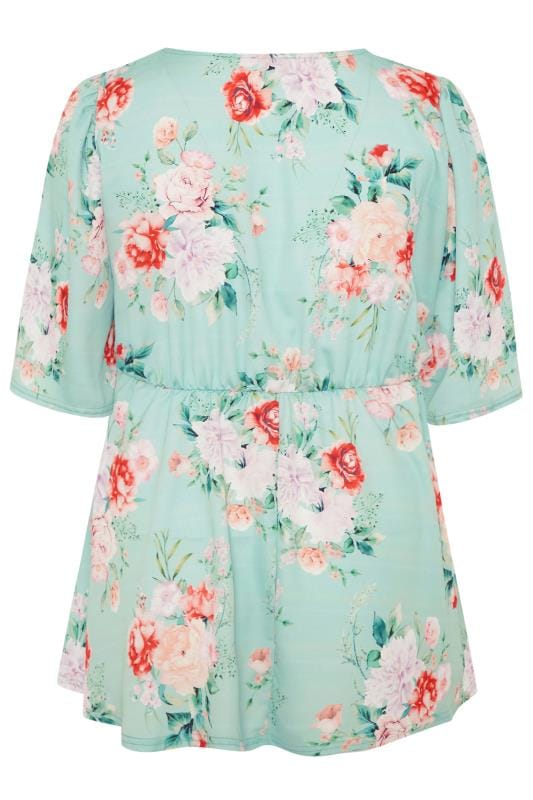 YOURS LONDON Sage Green Floral Print Wrap Top