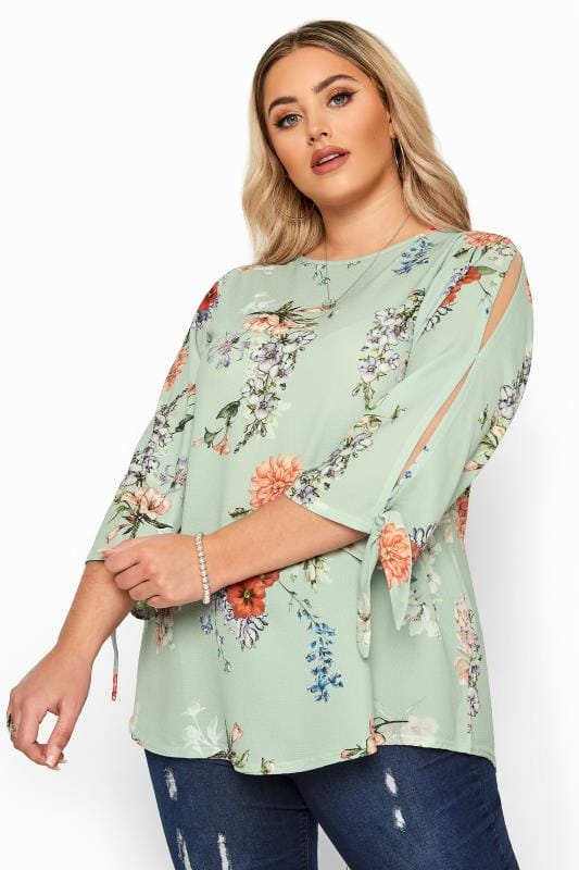 Beauty YOURS LONDON Sage Green Floral Split Sleeve Top