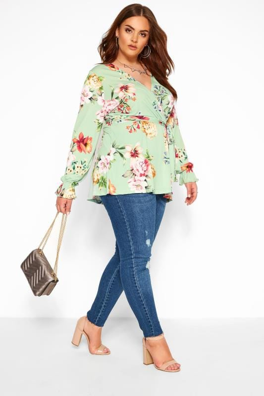 Plus Size Wrap Tops YOURS LONDON Sage Green Floral Wrap Top