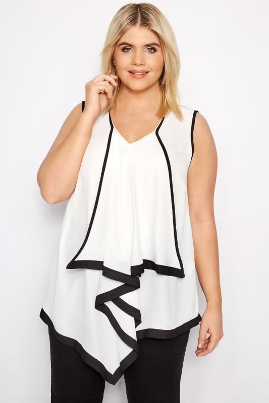 Plus Size Blouses & Shirts YOURS LONDON White & Black Asymmetric Ruffle Blouse