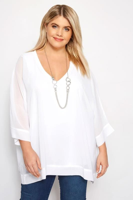 Tops de fiesta Tallas Grandes YOURS LONDON Top blanco de gasa con collar