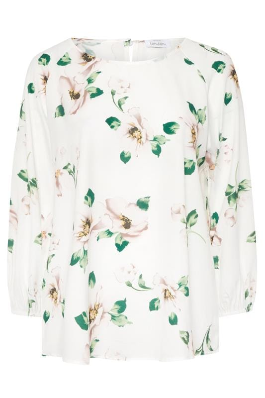 YOURS LONDON White Floral Balloon Sleeve Blouse