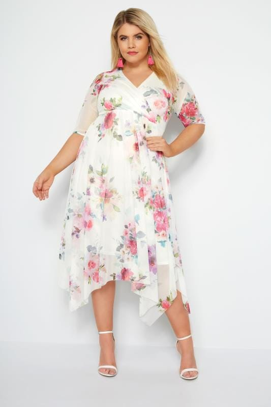 YOURS LONDON White Floral Mesh Midi Dress With Hanky Hem