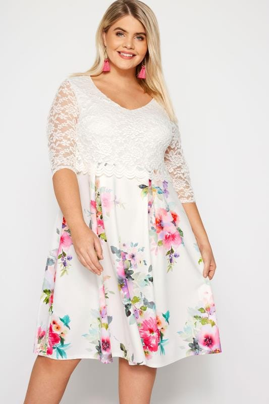 YOURS LONDON White Floral Midi Dress with Lace Overlay