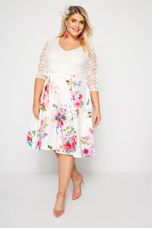 pero no vulgar Cantidad limitada estilo único YOURS LONDON Vestido blanco midi con flores. Tallas grandes 44 a 60