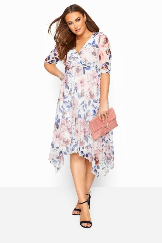 YOURS LONDON White Floral Print Mesh Wrap Dress