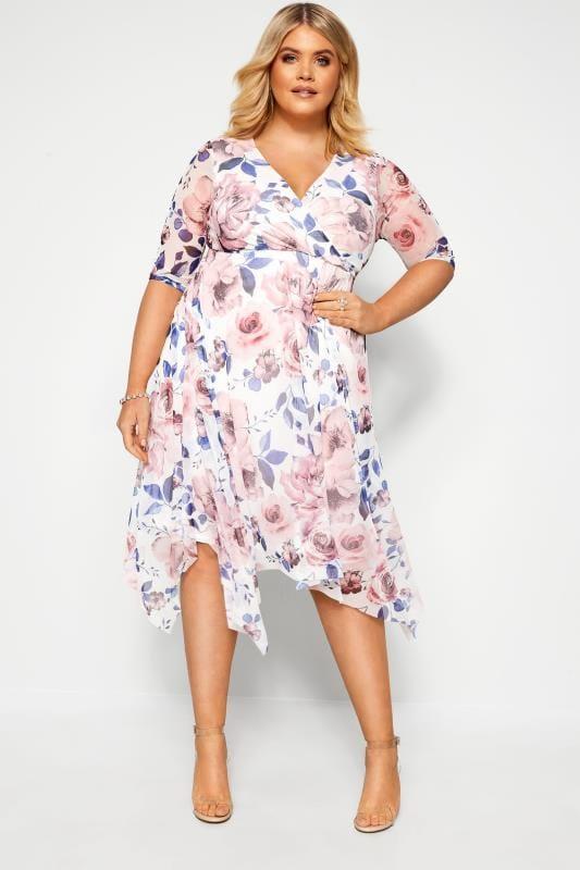 Plus Size Evening Dresses YOURS LONDON White Floral Print Mesh Wrap Dress