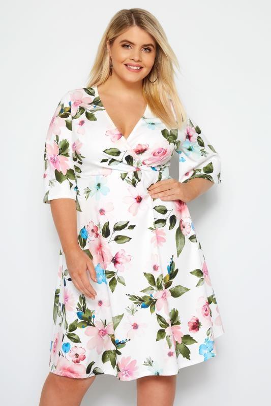 Plus Size Wrap Dresses YOURS LONDON White Floral Wrap Dress