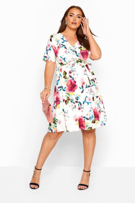 Plus-Größen Floral Dresses YOURS LONDON White Floral Wrap Dress