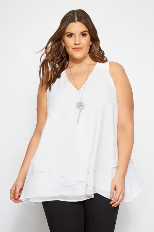 Plus Size Blouses & Shirts YOURS LONDON White Layered Chiffon Top