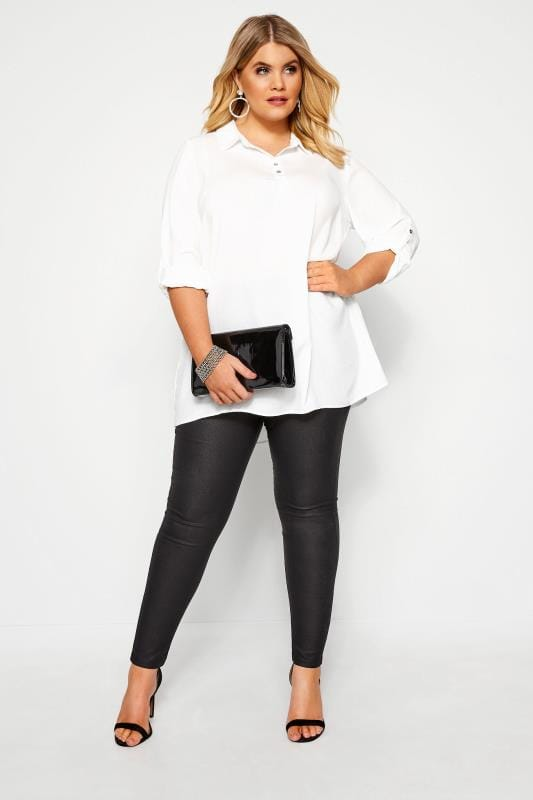 Plus Size Shirts YOURS LONDON White Linen Look Overhead Shirt