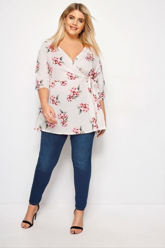 YOURS LONDON White & Pink Floral Wrap Blouse With Kimono Sleeves