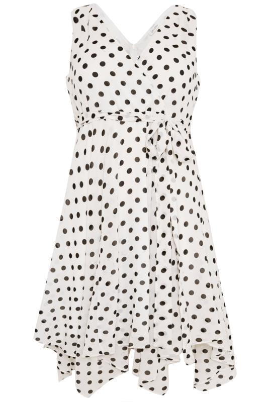 YOURS LONDON White Polka Dot Wrap Dress With Hanky Hem