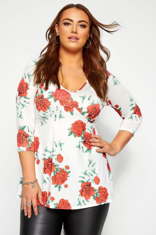 Plus Size Party Tops YOURS LONDON White Rose Print Slinky Top
