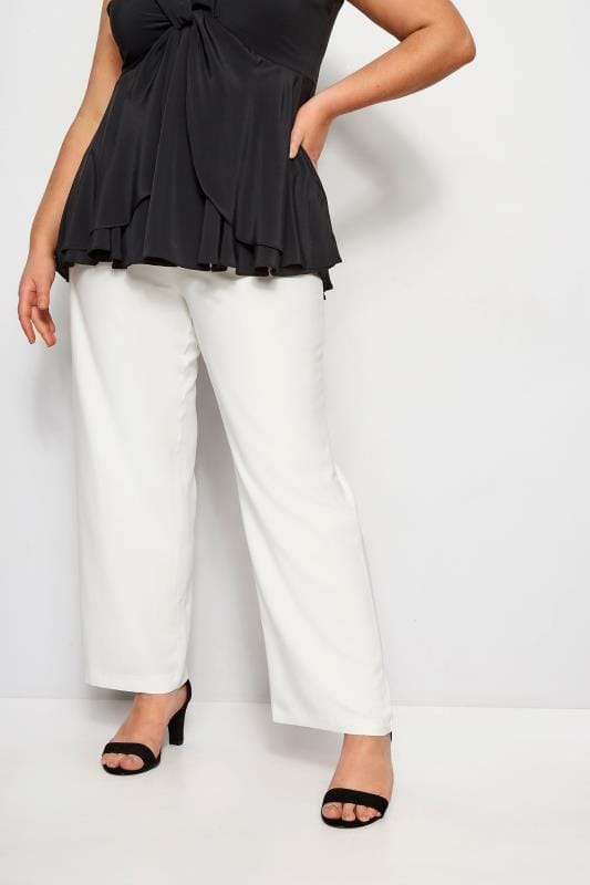 Plus Size Straight Leg Trousers YOURS LONDON White Straight Leg Trousers