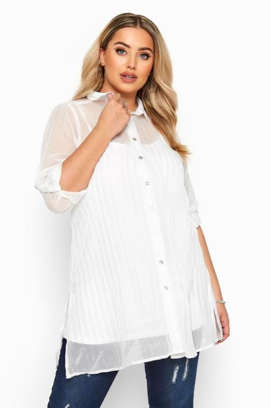 YOURS LONDON White Stripe Metallic Chiffon Shirt