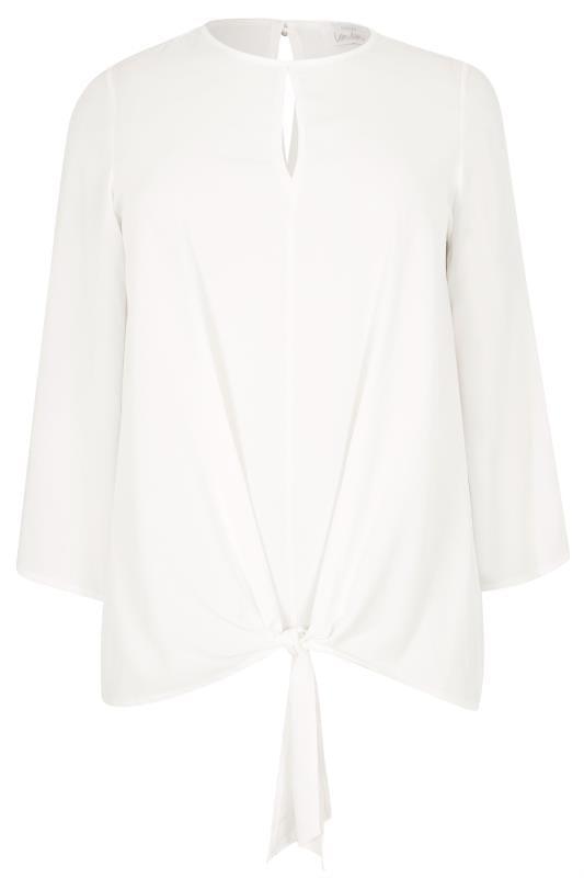 YOURS LONDON Bluse mit Saum zum Binden - Weiß