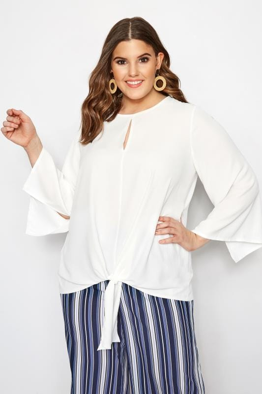 YOURS LONDON White Tie Front Blouse