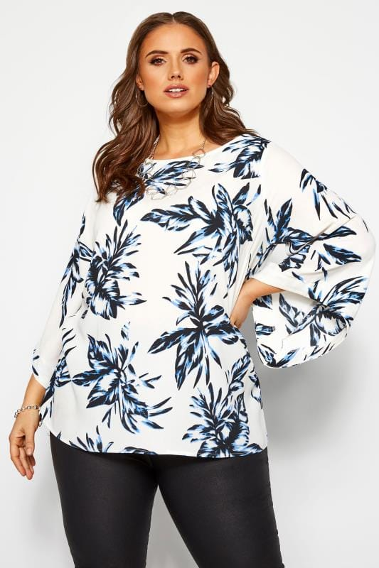 Plus Size Long Sleeve Tops YOURS LONDON White Tropical Cape Top