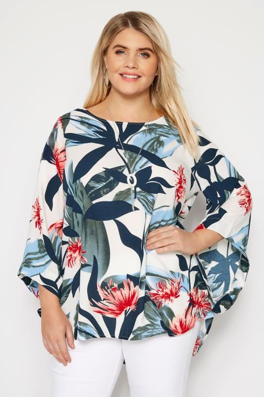 Yours London Top Capa Blanca Tropical Tallas Grandes 44 A 60 Yours Clothing
