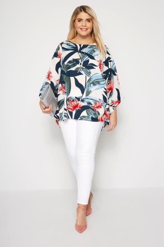 YOURS LONDON White Tropical Leaf Cape Top