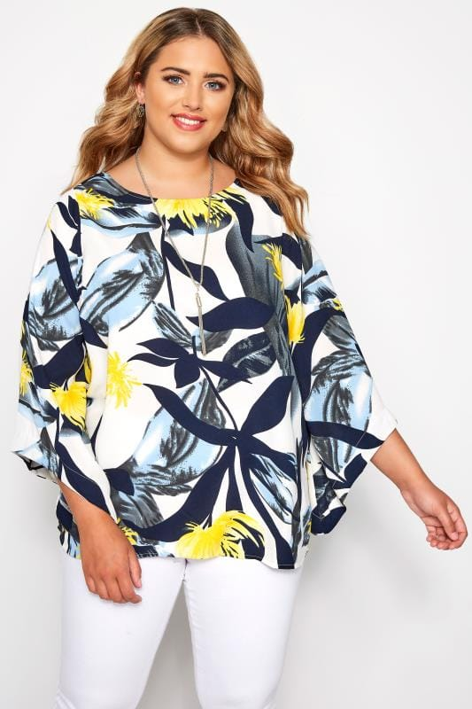 Plus Size Blouses YOURS LONDON White & Yellow Palm Leaf Cape Top