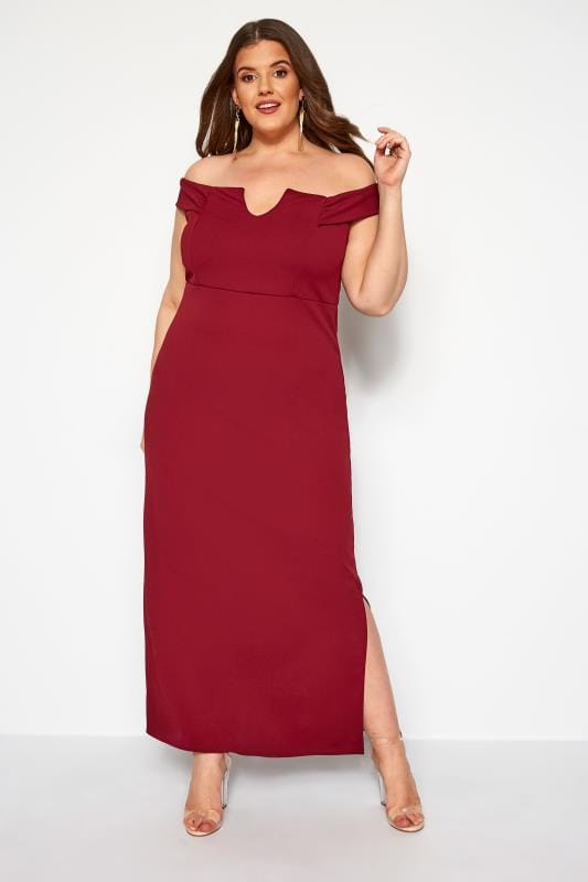 Plus Size Maxi Dresses YOURS LONDON Wine Red Bardot Maxi Dress