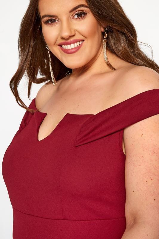 YOURS LONDON Wine Red Bardot Maxi Dress