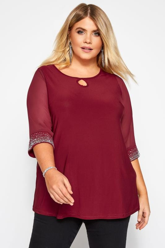 YOURS LONDON Wine Red Diamante Blouse