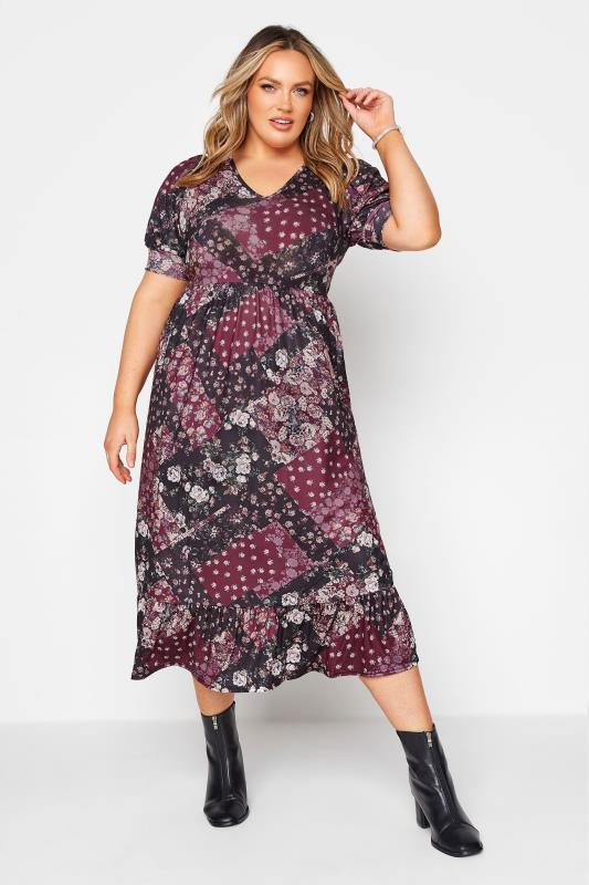 dla puszystych YOURS LONDON Wine Red Scarf Print Tiered Dress