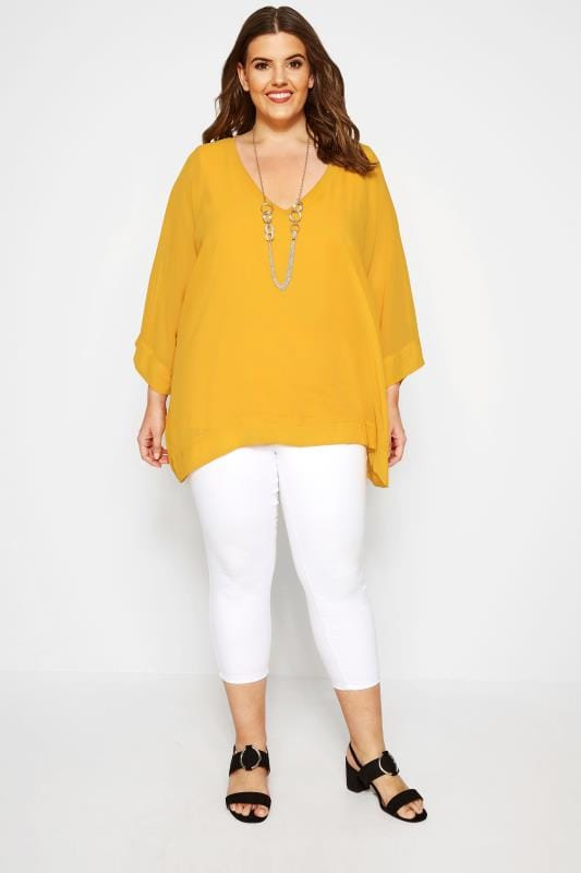 YOURS LONDON Chiffon Top - Gelb