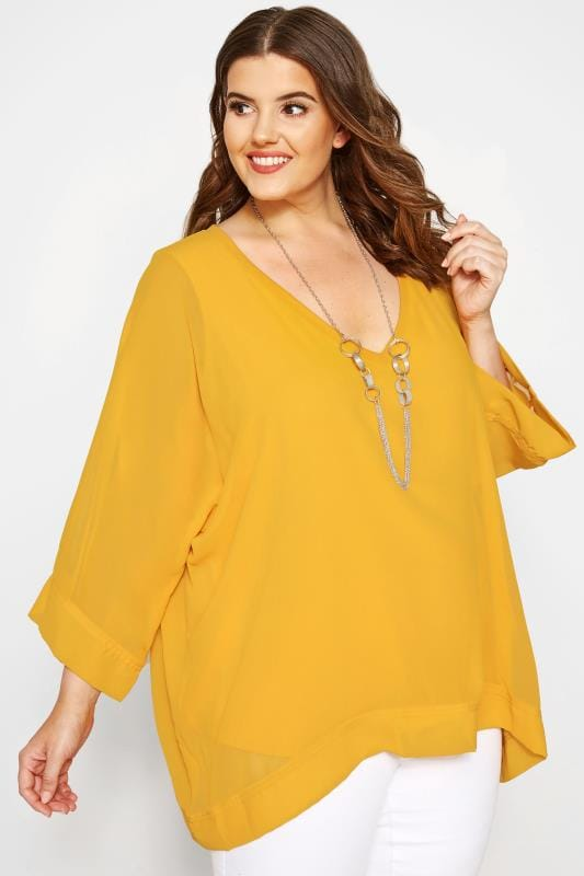 Plus Size Chiffon Blouses YOURS LONDON Yellow Chiffon Cape Top