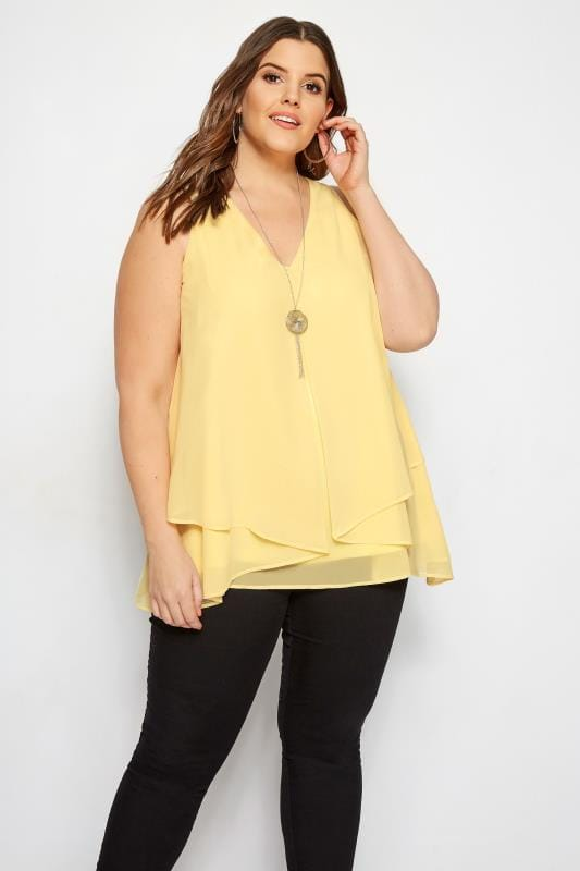 YOURS LONDON Yellow Layered Chiffon Top