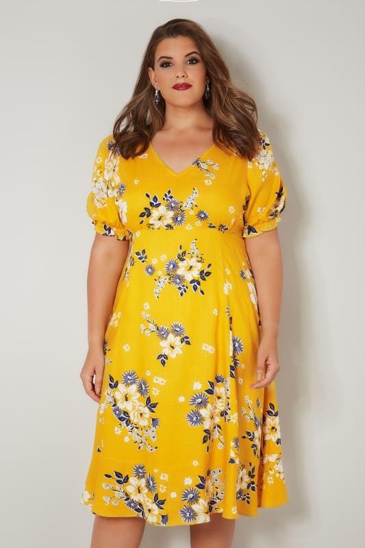 YOURS LONDON Yellow Floral Tea Dress, Plus size 16 to 32
