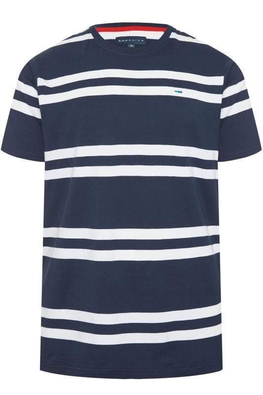 Men's T-Shirts BadRhino Navy Double Stripe T-Shirt