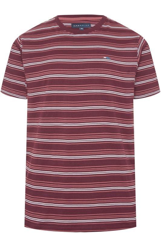 Men's T-Shirts BadRhino Burgundy & White Stripe T-Shirt