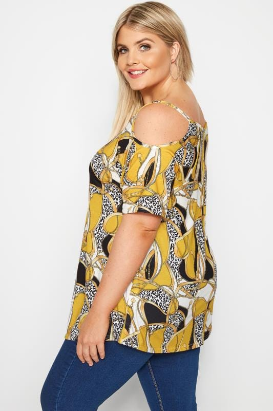 Yellow Chain Cold Shoulder Top