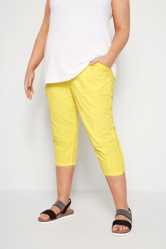 Lemon Yellow Cotton Cropped Trousers