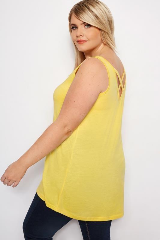 Plus Size Vests & Camis Yellow Cross Back Vest