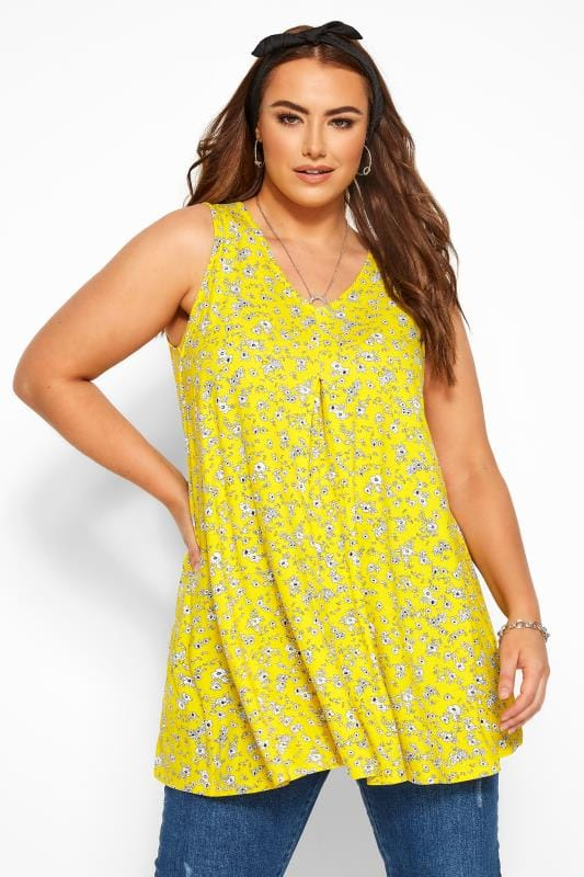 Plus Size Jersey Tops Yellow Ditsy Floral Swing Vest Top