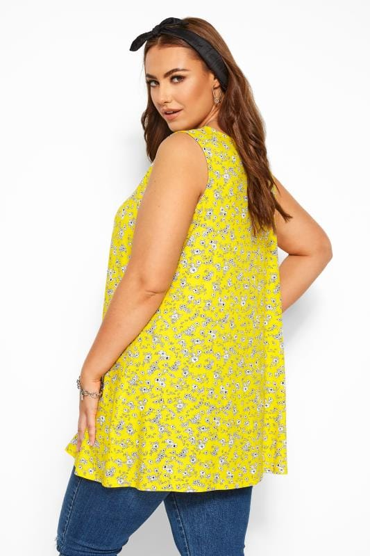 Yellow Ditsy Floral Swing Vest Top