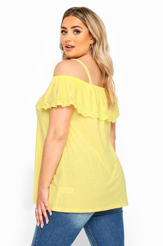 Yellow Embroidered Frill Cold Shoulder Top