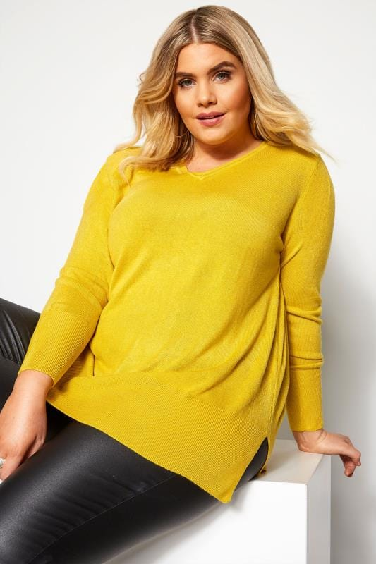 Plus Size Jumpers Yellow Fine Knit Cashmilon Jumper