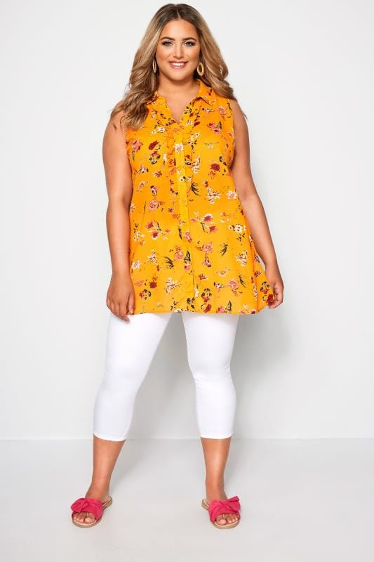 Yellow Floral Button Up Frill Blouse